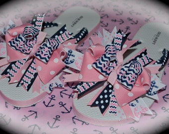 Custom Boutique Bows 4 your Toes  Adult Women's Ladies College Sorority Alpha Delta Sigma Beta Gamma Kappa Phi Ribbon Flip Flops