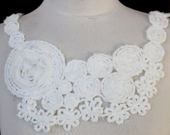 Cute embroidered  applique  with chiffon  flowers  white color