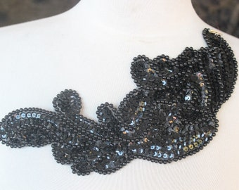 Cute embroidered  and beaded  applique  with  sequins   black color 1 pieces listing