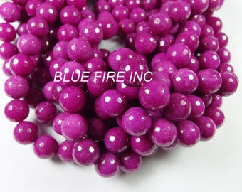 14mm round faceted dyed beads 16 inch long