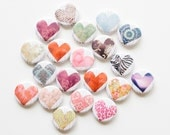 Buttons - Paper Hearts (set of 20)