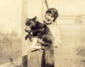 Woman FEEDING FOX While HOLDING It In Her Arms Photo Postcard Circa 1920s