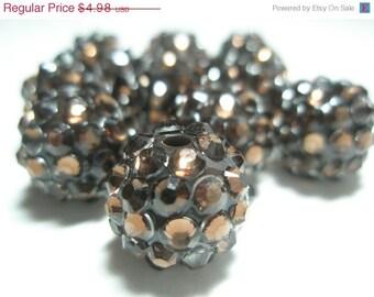 CLEARANCE SALE 14mm - NEW 10 Rhinestone Resin Balls - Dark Chocolate - Basketball Wives Inspired