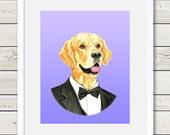 Golden Retriever Art - Golden Retriever Groom Dog Portrait Painting - Wedding Dog Art, dog home decor, dog gift