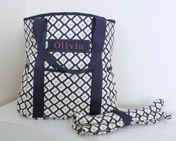 diaper bag monogrammed pottery barn upcycled navy. Black Bedroom Furniture Sets. Home Design Ideas