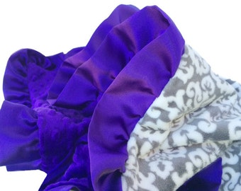 Standard Size Grey and White Damask Minky Baby Blanket with Purple Satin Ruffle Trim-personaliztion included