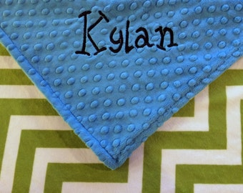 Personalized Baby Blanket Jade and Snow Minky Chevron Baby Blanket with Azure Dot Minky Back Stroller Size