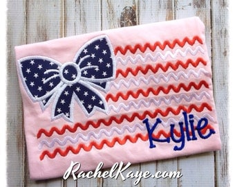 4th of July Girl's Appliqué Personalized Shirt for Memorial Day, Independence Day, or Veteran's Day custom made for your patriotic girl