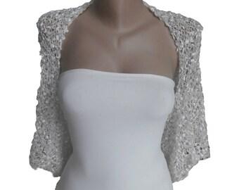 Knit  White silver / Off White Wedding  Bolero Shrug,  One size : L  ,  Sleeves Jacket, Wedding Bolero, Weddings Bridal Women For her