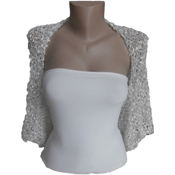 Knit  White silver / Off White Wedding  Bolero Shrug,  One size : L  ,  Sleeves Jacket, Wedding Bolero, Weddings Bridal Women For her