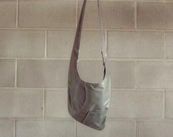 Grey leather crossbody bag, grey purse, grey messenger bag  - Factor