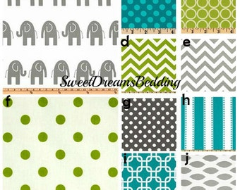 Custom Crib Bedding You Design   Bumper and Bedskirt in Turquoise,Lime Green and Gray