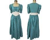 1940s Striped Cotton Maxi Dress