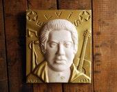 Elvis Presley Painted Plaster cast Plaque, Folk Art Elvis, Elvis Clinton, Elvis Memorial Art