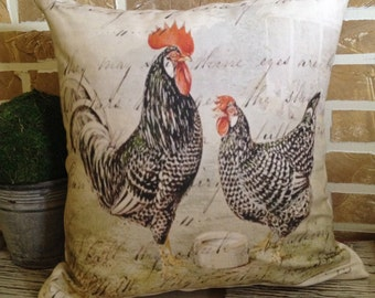 French Country Rooster Pillow - Insert Included * FREE SHIPPING *
