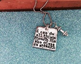 Dumbbell or Kettlebell Hand Stamped Necklace
