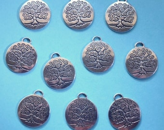 SALE, TREE disc Charms x 10, antique silver tone, charm, UK seller, reduced, was 2.95, now only 1.50 while stocks last