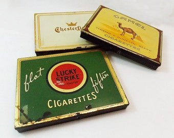 1930s-1940s Cigarette Tin - Lucky Strike or Chesterfield - Tobacciana - Advertising Art