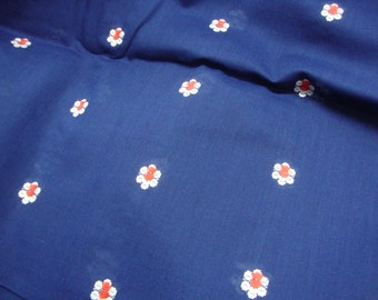 VINTAGE Fabric Navy Poly Cotton Blend with Embroidered Flowers