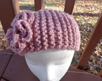 Chunky Knitted  Headband in  Medium Rose