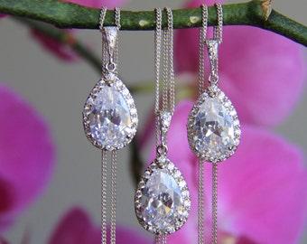 Set of 3 - 7 bridesmaid necklace, cz necklace, wedding jewelry, bridal jewelry, wedding necklace, bridal necklace, bridesmaid necklace