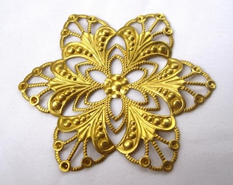 6pcs Large Flower Filigree 60mm Brass Findings for Jewelry Making Fashion Design bf114