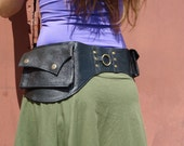 Utility Belt, Leather Belt Bag, Leather Hip Belt, Steampunk Bag, Purse Belt, Leather Belt with Pockets in Black HB27D *Free Shipping*