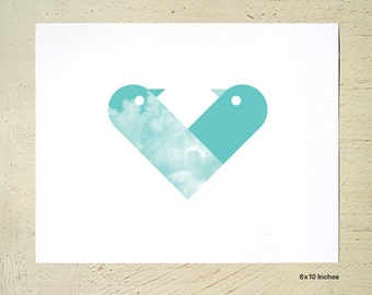 Love Birds print in the shape of a love heart. Love heart wall art in teal/mint by Erupt Prints