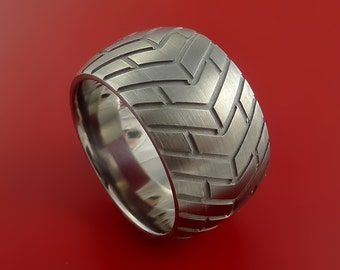 Titanium Wide Carved Design Ring Bold Unique Band Custom Made to Any Sizing 4-22