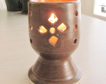 Candle Holder Ceramic Pottery Luminary Carved Pottery Stoneware Clay Rustic Brown Red