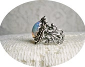 Ring - White Fire Opal Ring -  Silver Ring - Vintage Style  -  Free Shipping