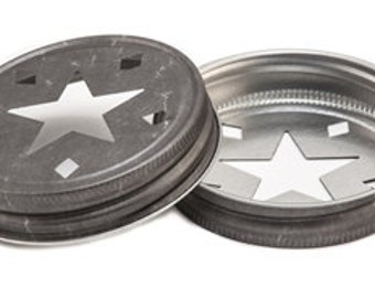 1 PEWTER STAR LIDS Mason Jar Lid For Drinking Jars or Candles Stars Cutout Rustic Vintage Country Wedding Birthday Party Supplies Primitive