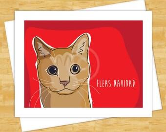 Cat Christmas Cards - Fleas Navidad - Funny Merry Christmas Cards Holiday Feliz Navidad