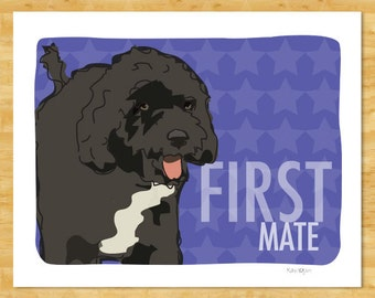 Portuguese Water Dog Art Print - First Mate - Portuguese Water Dog Gifts Dog Art Prints