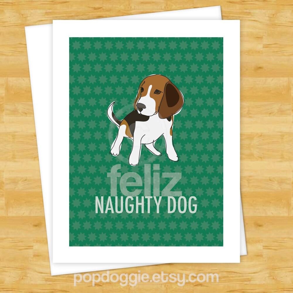 Dog Cards Beagle Feliz Naughty Dog Funny Dog Christmas