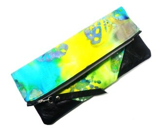 Butterfly Tie Dye Foldover Clutch/Leather Corners