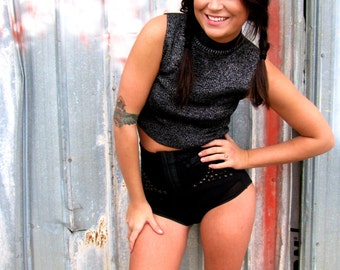 Vintage 1980s CROPPED Metallic Ribbed Knit SWEATER Disco Rock and Roll