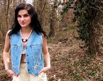 Vintage 1980s Liz Claiborne DENIM Jean Vest