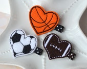Sports Themed Felt Hair Clips for Girls- Football, Soccer, Basketball, Baseball, Softball Barrettes- Cute Sports Birthday Favors