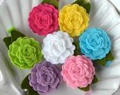 Bright Colors Felt Flower Rosette Hair Clips- Fun Summer Hair Clips- Hot Pink, Yellow, Aqua, Lime Green, White, Purple, Baby Pink