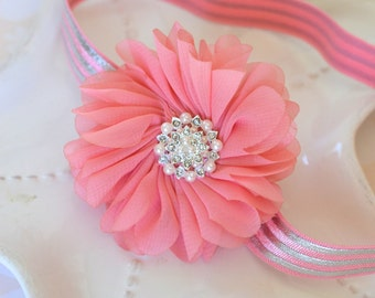 Elegant Pink and Silver Chiffon Flower Headband with Pearl Center- Metallic Silver Striped Headband- Sleeping Beauty Costume Accessory
