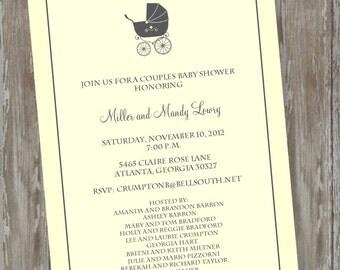 "Baby Shower invitations -Digital file ""Pastel Carriage"" design"