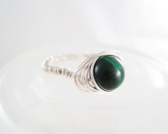 Argentium Silver Wire Wrapped Ring with Malachite Gemstone