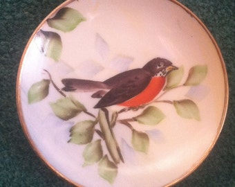 Vintage Lefton Robin Red Breast Hand Painted China Plate 4047 mini bird