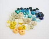 Vintage tropical button mix- 50 pieces