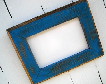 8.5 x 11 Picture Frame, Blue Rustic Weathered Style Stained With Routed Edges, Rustic Home Decor, Rustic Home Decor, Rustic Wood Frames