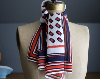 Vintage Red, White and Blue Oblong Scarf