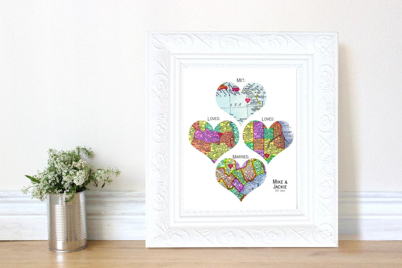 Personalized Map Art Heart Print Met Loved By Jackiesattique