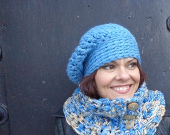 Chunky Hat, Chunky Slouch, Unisex Slouch, Blue Hat, Fashion Hat, Fashion Slouch, Sky Blue Slouch