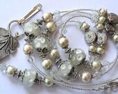 Beaded Lanyard Breakaway Lanyard ID Badge Holder Creamy Polka Dots Magnetic Break Away teacher lariat floral lampwork beads